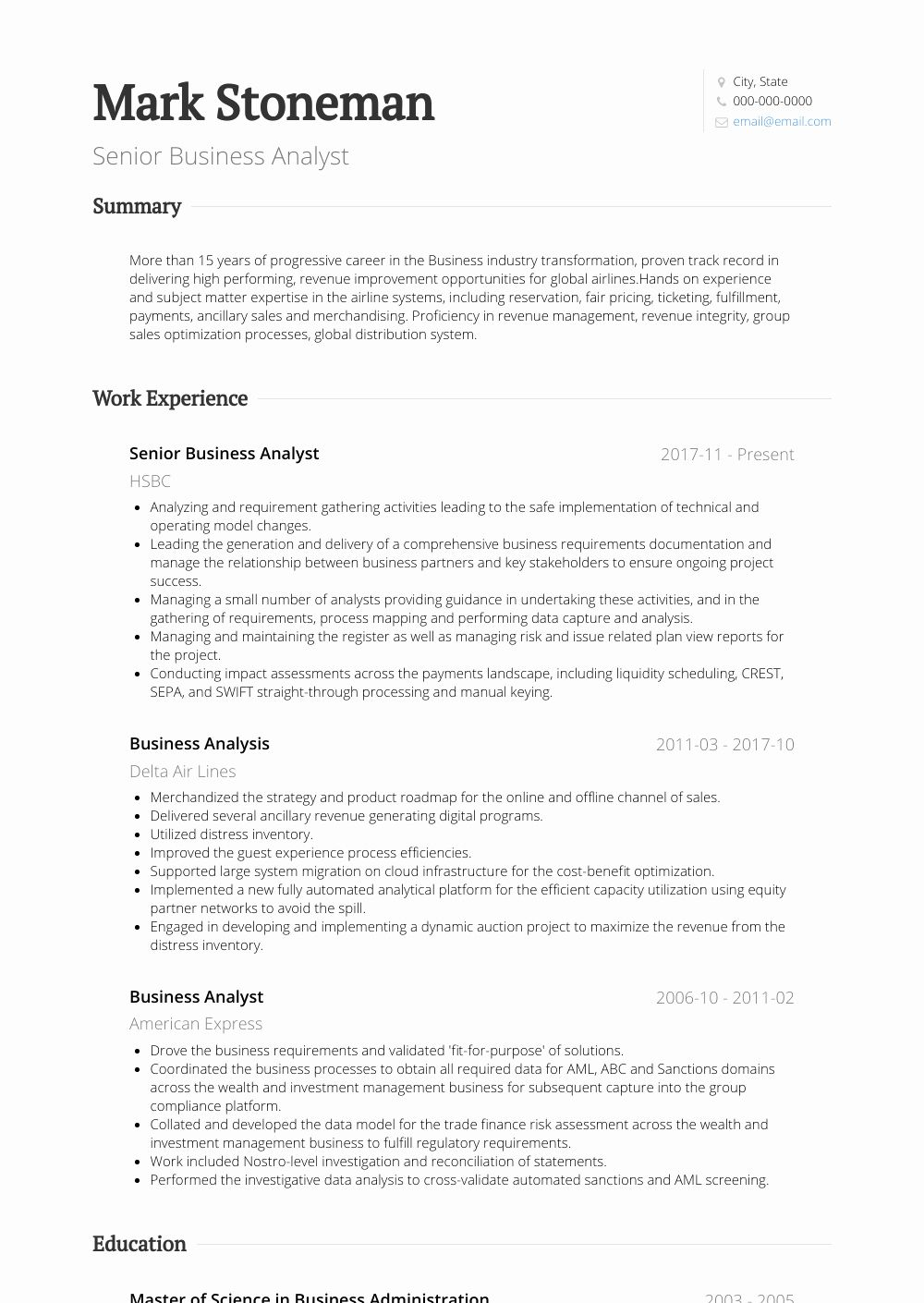 business analyst resume example inspirational senior simple for job education project Resume Senior Business Analyst Resume Example