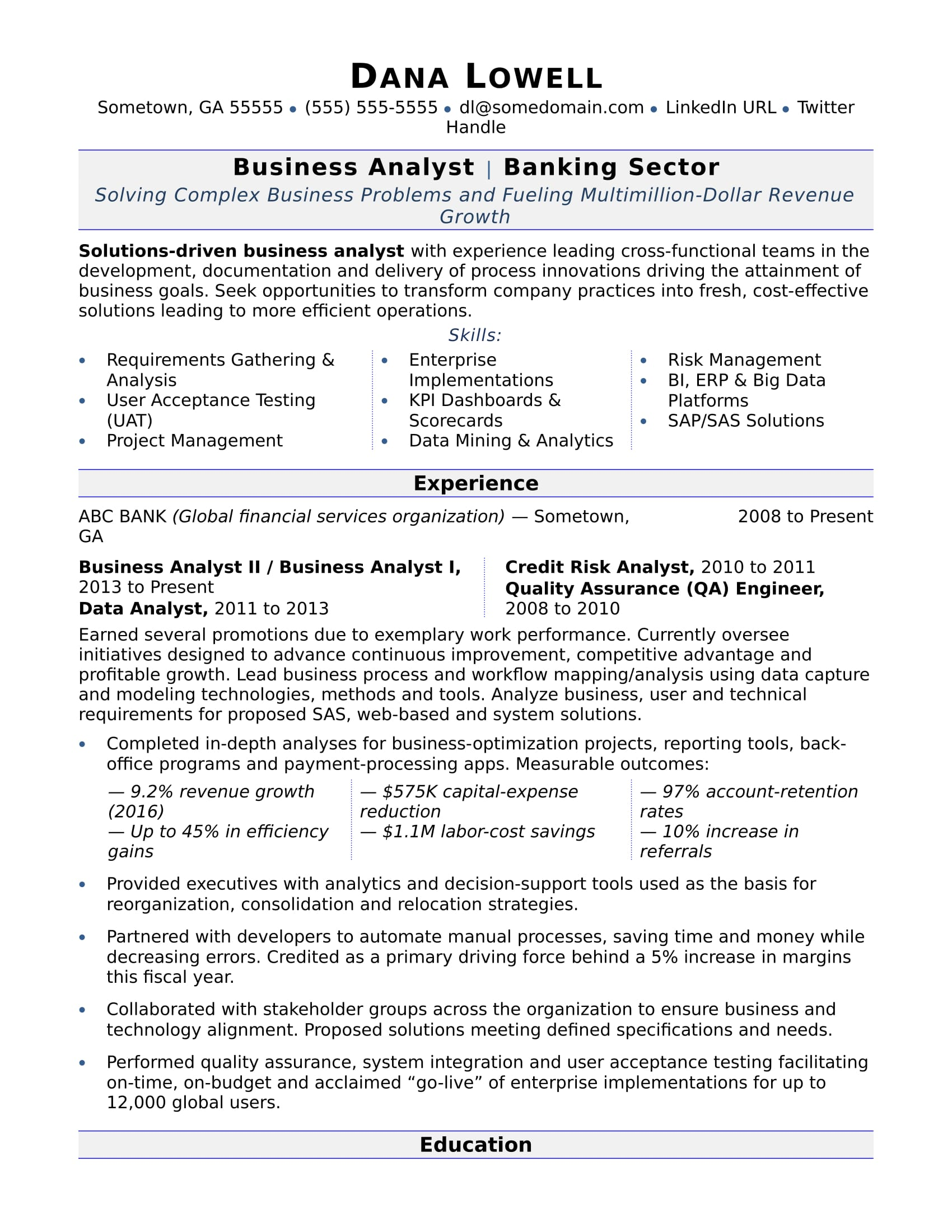 business analyst resume sample monster template businessanalyst summary for engineering Resume Business Resume Template