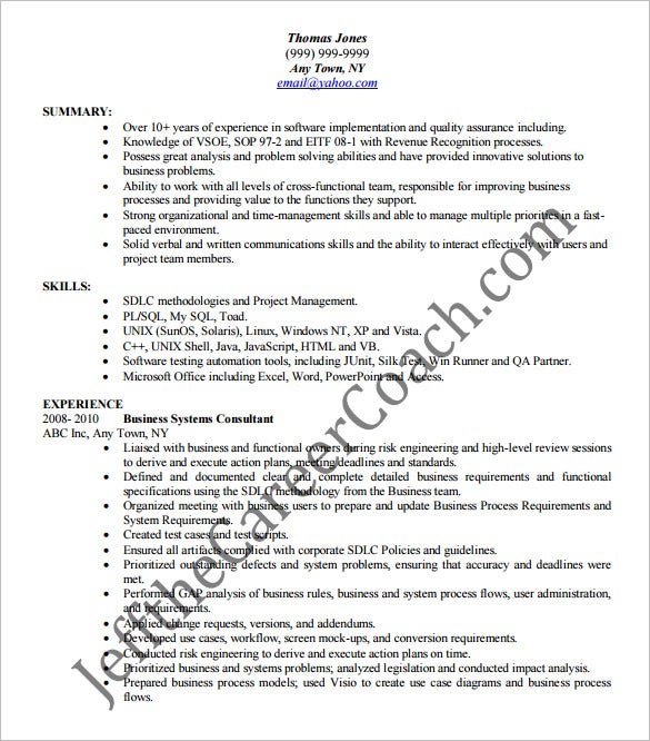 business analyst resume template free samples examples format premium templates best Resume Business Analyst Resume Download