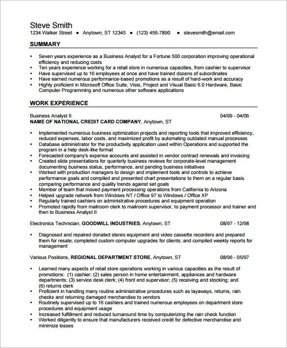 business analyst resume template free samples examples format premium templates entry Resume Entry Level Business Analyst Resume