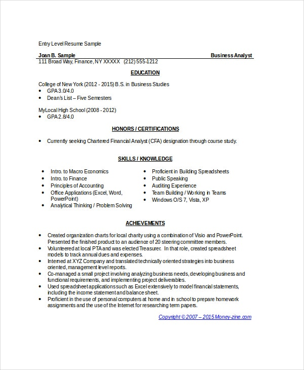 business analyst resumes free sample example format premium templates entry level resume Resume Entry Level Business Analyst Resume