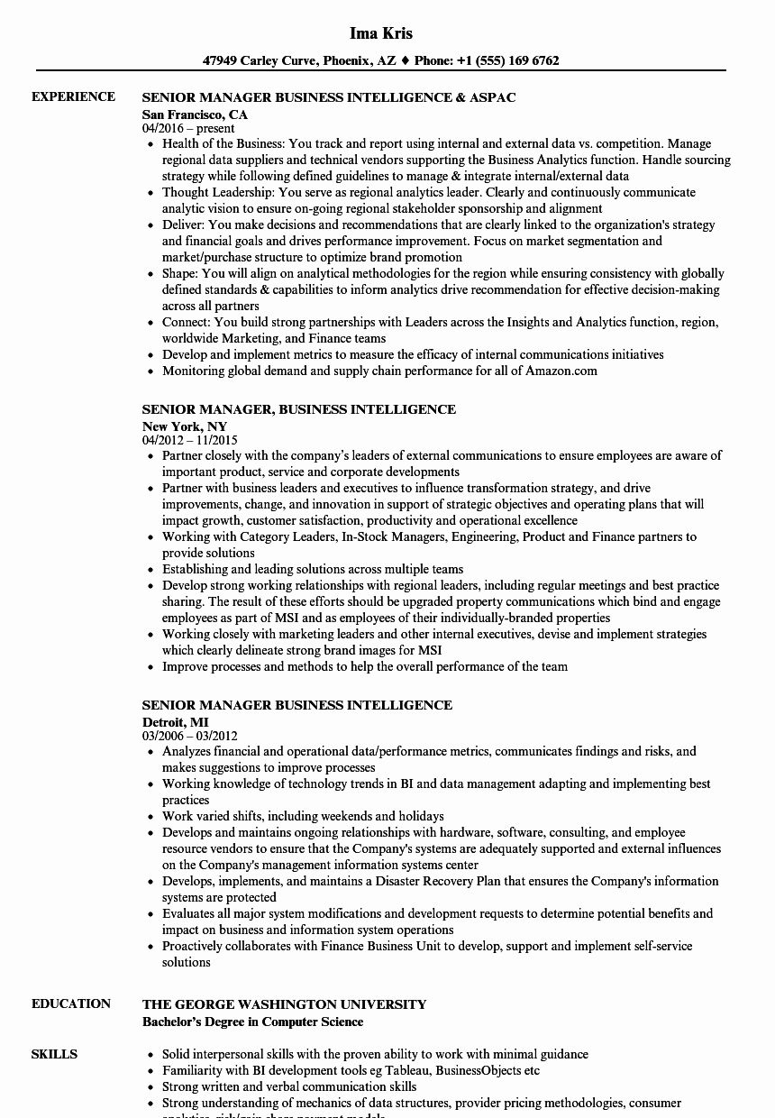 business intelligence analyst resume luxury senior manager samples email template for Resume Business Intelligence Resume