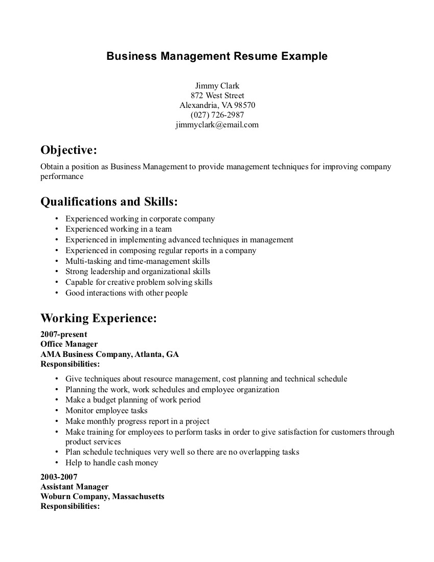 business management resume example best examples objective manager and get inspired to Resume Business Management Objective Resume