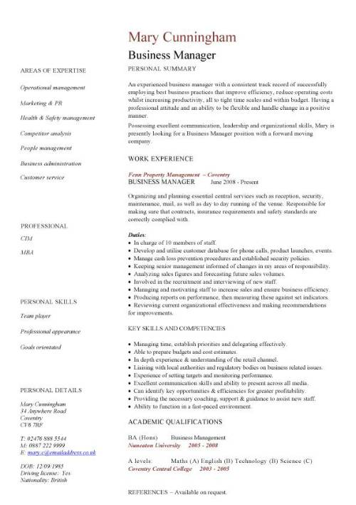 business manager cv sample time management resume organizing motivating and controlling Resume Business Resume Template