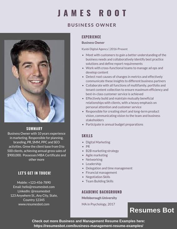 business owner resume samples templates pdf resumes bot former example beginner machinist Resume Former Business Owner Resume