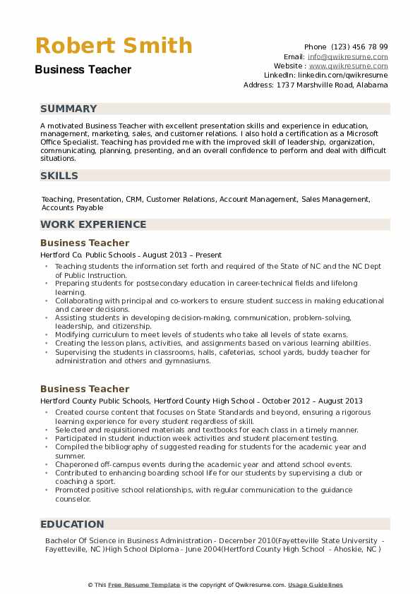 business teacher resume samples qwikresume commerce examples pdf archdaily templates Resume Commerce Teacher Resume Examples