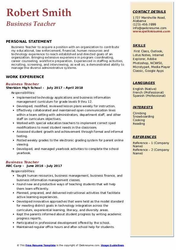 business teacher resume samples qwikresume commerce examples pdf on word template Resume Commerce Teacher Resume Examples