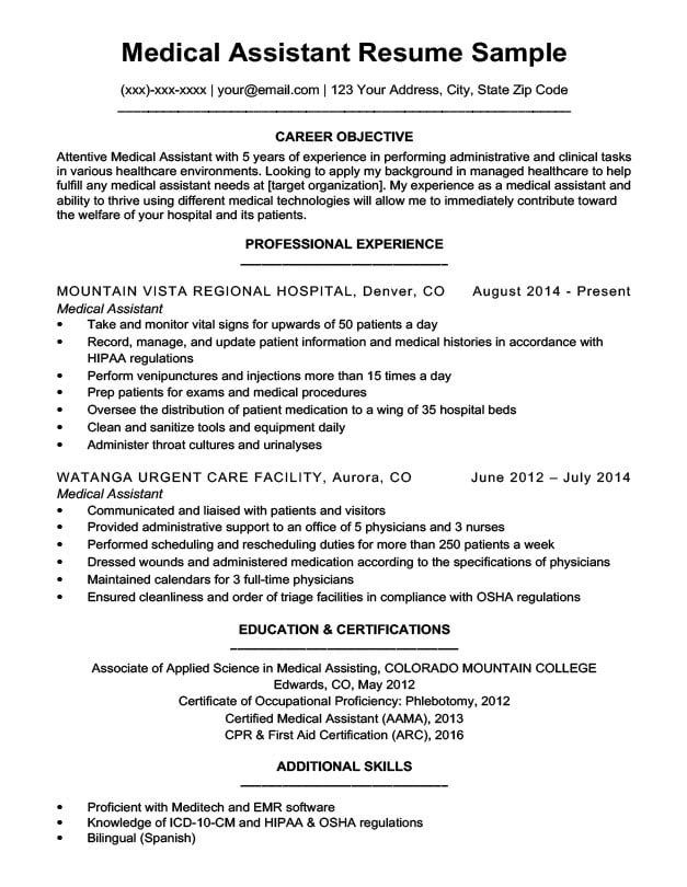 by medical assistant resume format sample paper mill and cover letter template contract Resume Medical Assistant Resume Sample