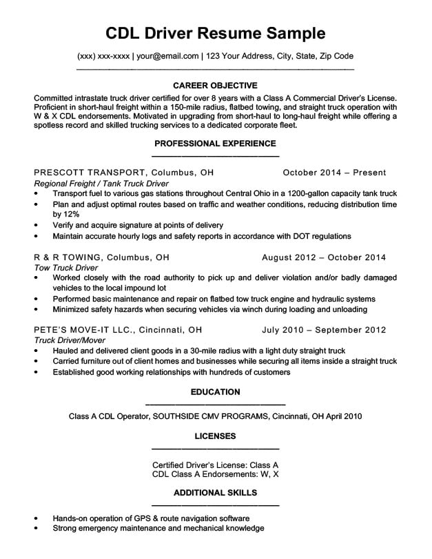 by truck driver resume format haul sample affordable service example of customer Resume Long Haul Truck Driver Resume Sample