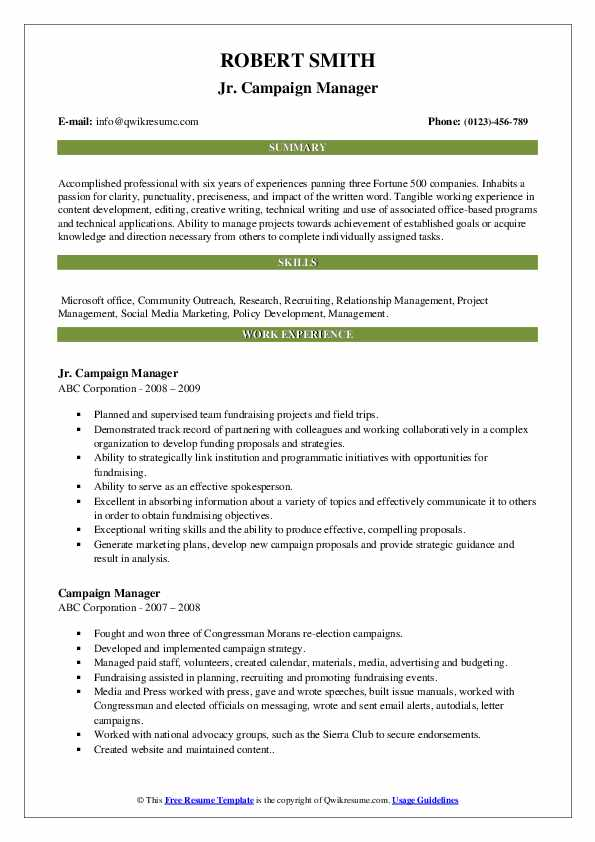 campaign manager resume samples qwikresume pdf full stack developer examples pca Resume Campaign Manager Resume