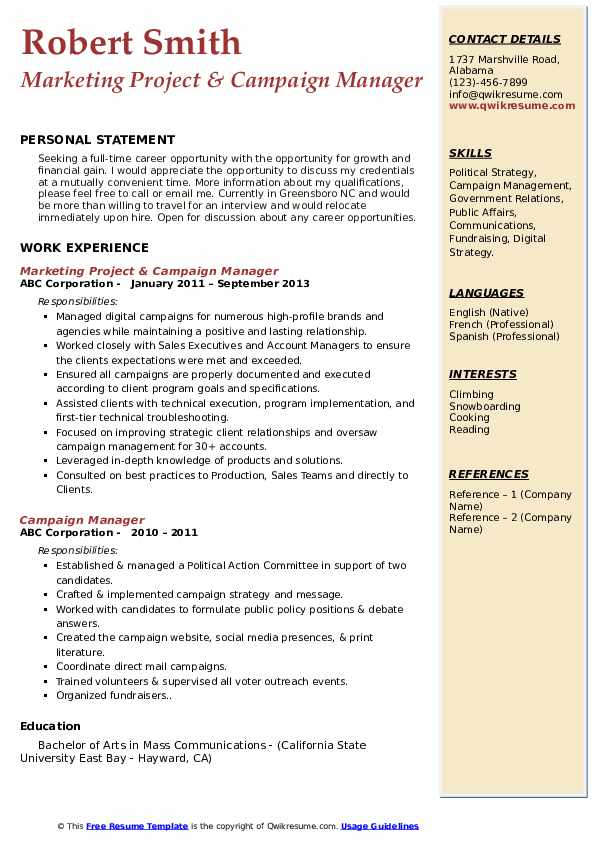 campaign manager resume samples qwikresume pdf good description for assistant project Resume Campaign Manager Resume