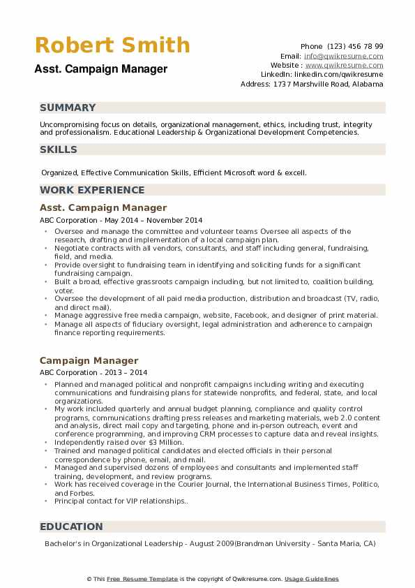 campaign manager resume samples qwikresume pdf photographer skills performance template Resume Campaign Manager Resume