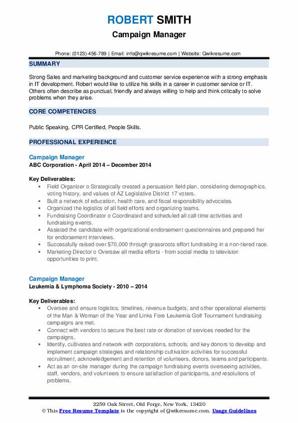 campaign manager resume samples qwikresume pdf responsible for training new employees Resume Campaign Manager Resume