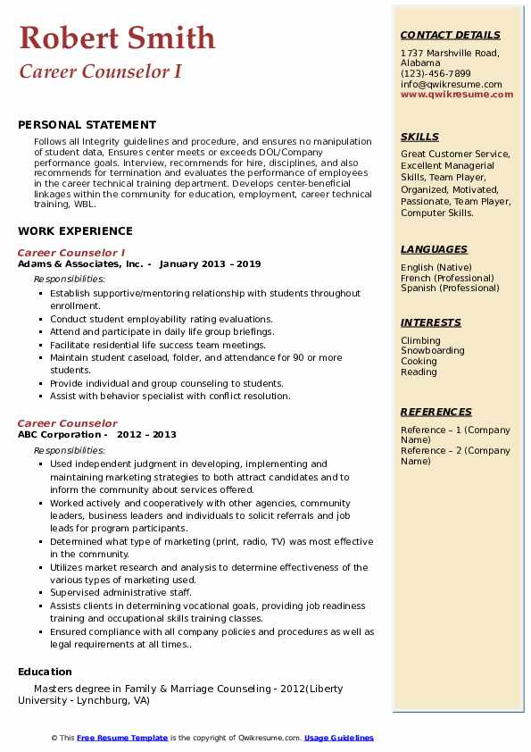 career counselor resume samples qwikresume counseling and writing pdf marketing Resume Career Counseling And Resume Writing