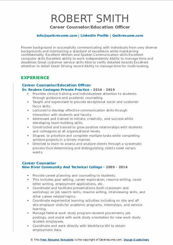 career counselor resume samples qwikresume counseling and writing pdf sample email cover Resume Career Counseling And Resume Writing