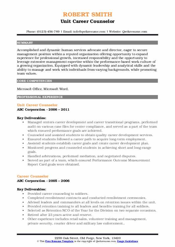 career counselor resume samples qwikresume counseling and writing pdf sample for years Resume Career Counseling And Resume Writing