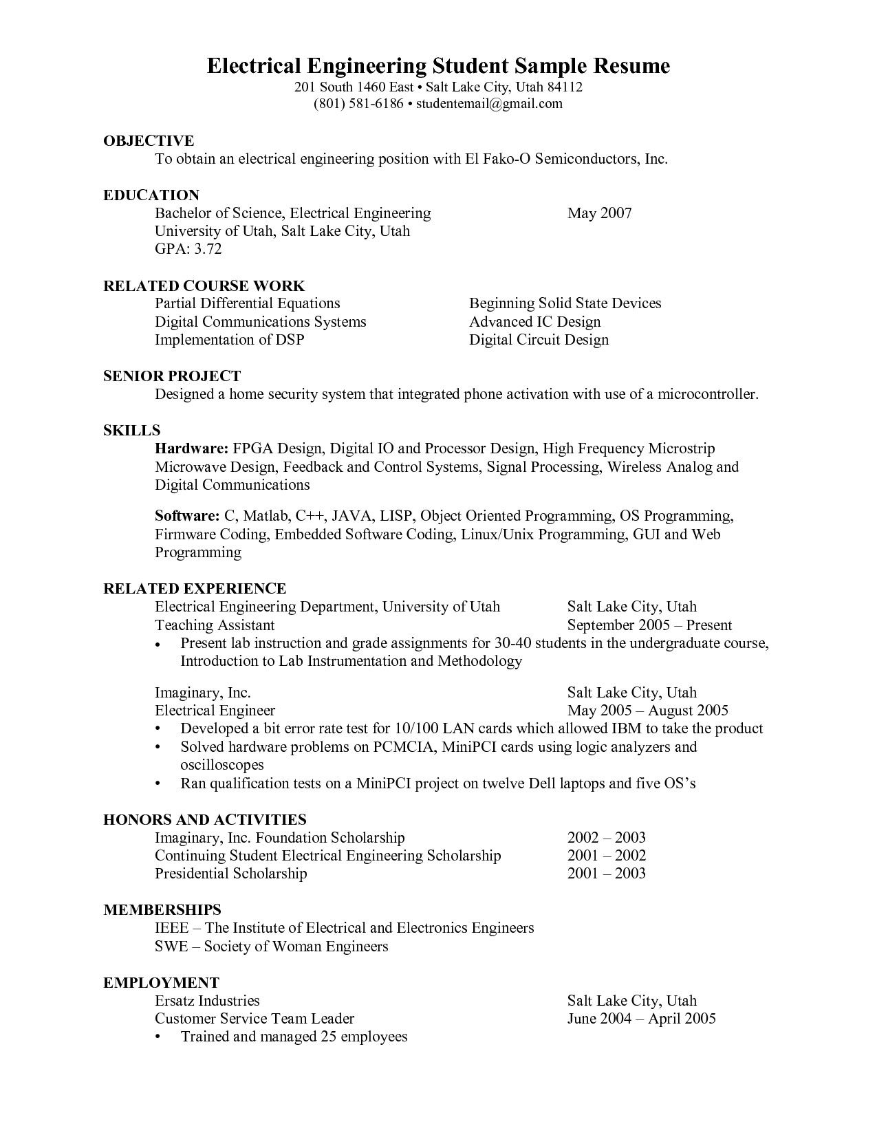 career objective for engineering student resume best examples electronics engineer Resume Career Objective For Electronics Engineer Resume