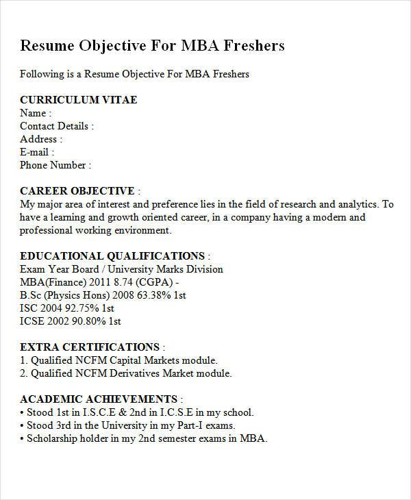 career objective for mba finance fresher objectives resume downloadable template sample Resume Sample Resume Objective For Mba Application
