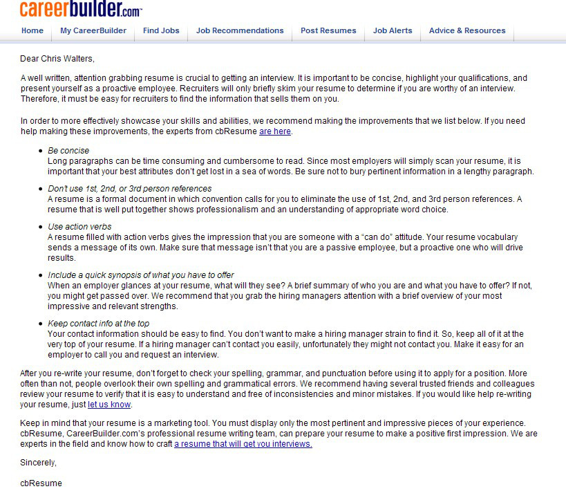 careerbuilder free resume review is bot driven junk consumerist cbadvicebig new templates Resume Careerbuilder Resume Review