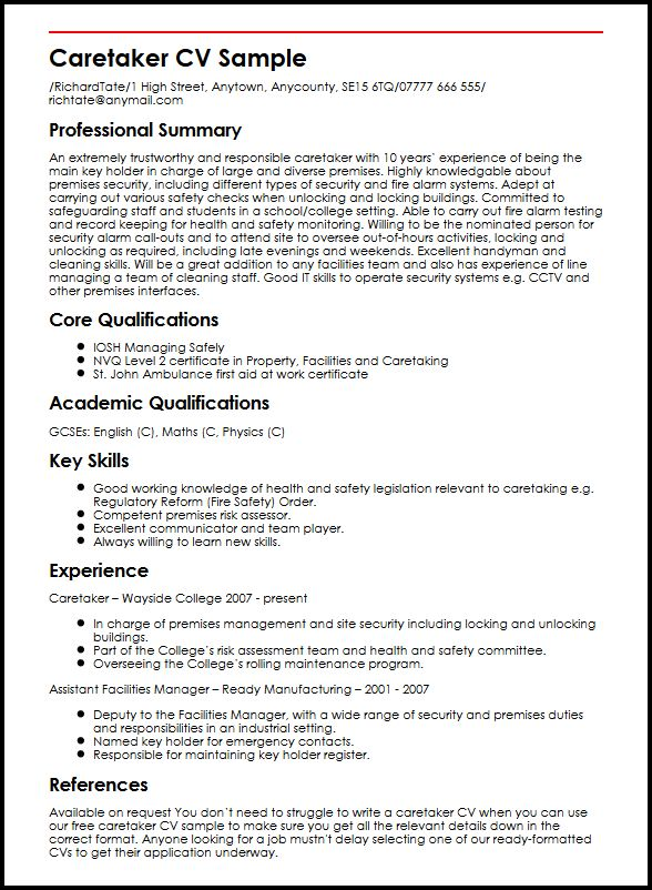 caretaker cv example myperfectcv another word for team player on resume sample armed Resume Another Word For Team Player On A Resume