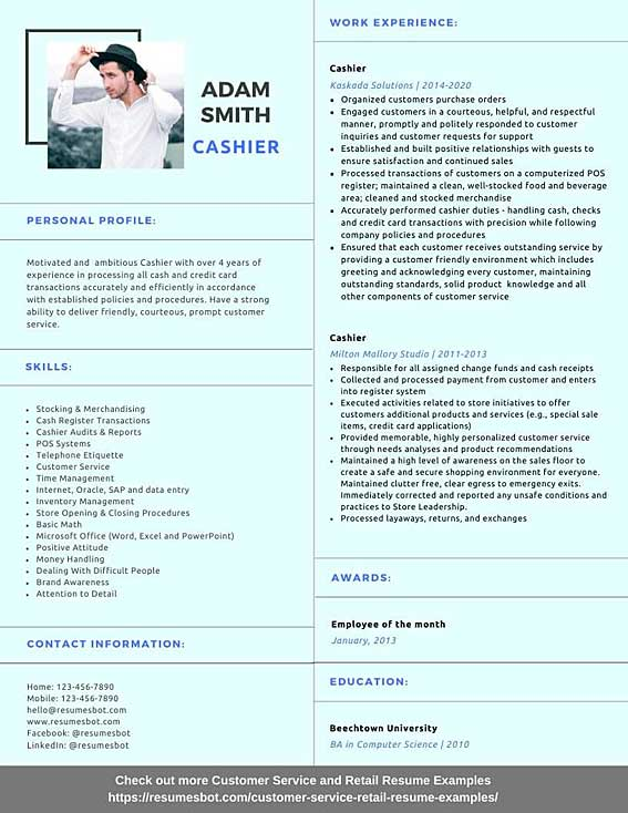 cashier resume samples and tips pdf resumes bot customer service example graduate finance Resume Resume Cashier Customer Service