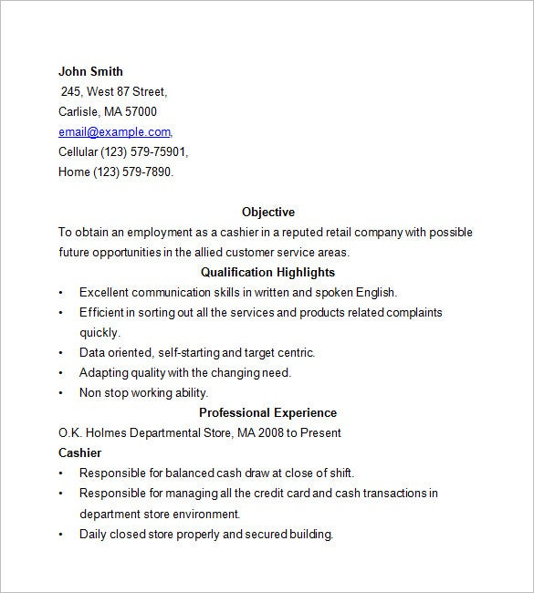 cashier resume template free samples examples format premium templates internship for Resume Cashier Resume Examples