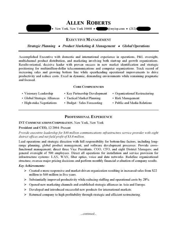ceo executive resume sample professional examples topresume federal example page1 biotech Resume Federal Resume Example 2018