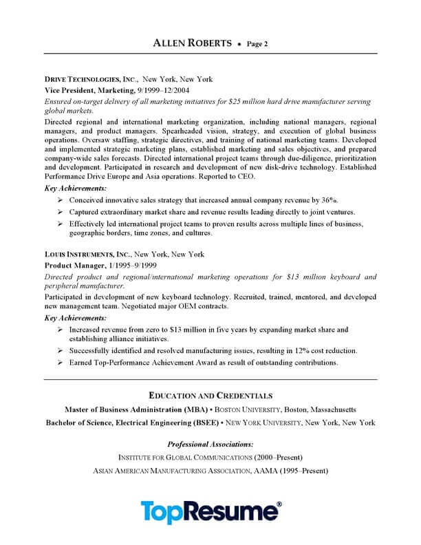 ceo executive resume sample professional examples topresume template word free page2 Resume Ceo Resume Template Word Free