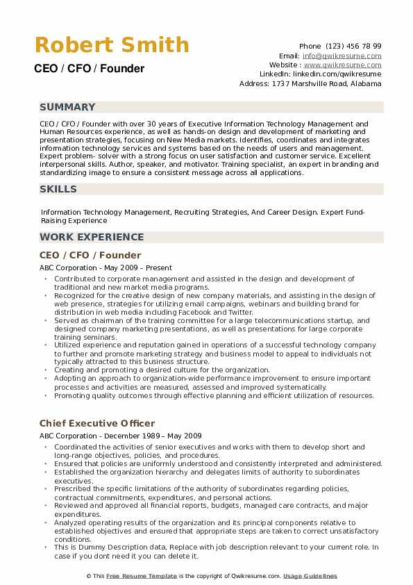ceo resume samples qwikresume free templates pdf accounting administrative assistant cna Resume Free Ceo Resume Templates