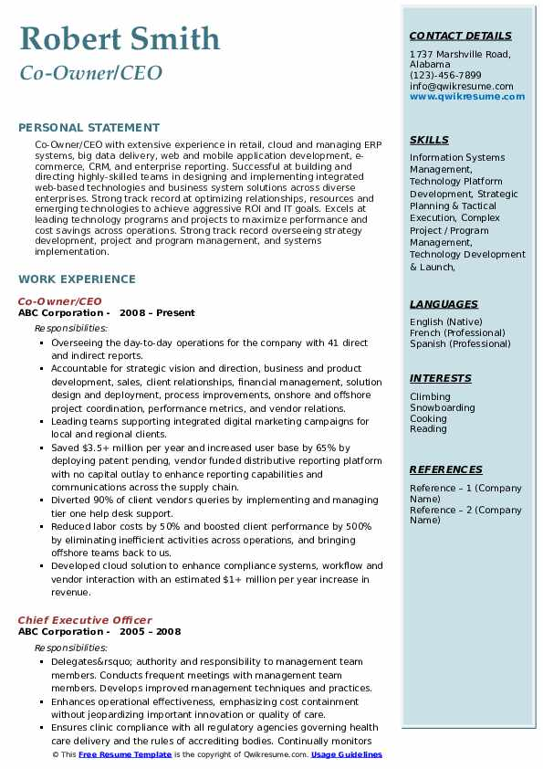 ceo resume samples qwikresume free templates pdf costume assistant accounting Resume Free Ceo Resume Templates