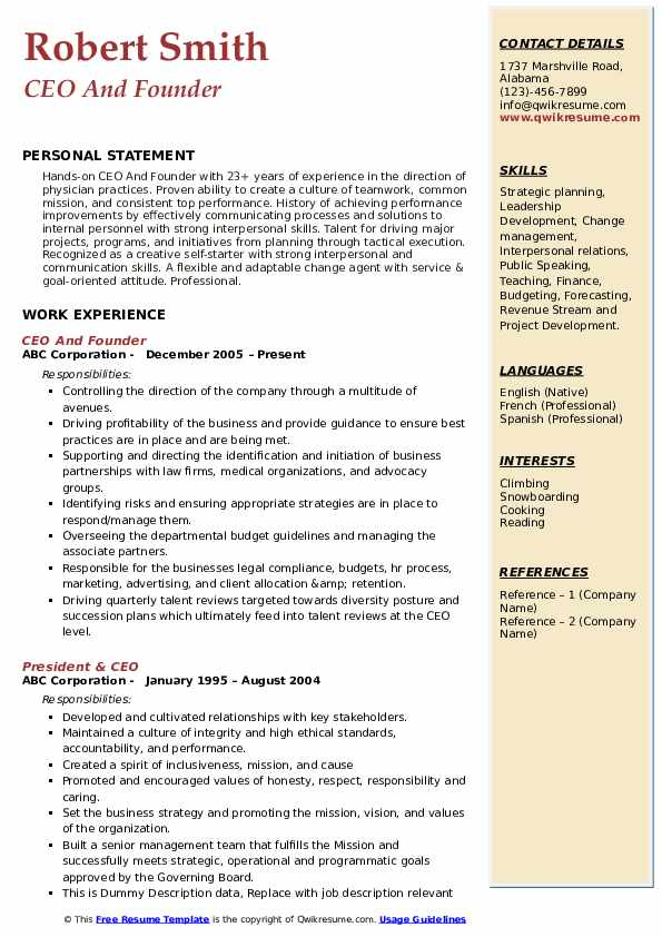 ceo resume samples qwikresume free templates pdf cover letter order for volunteer board Resume Free Ceo Resume Templates