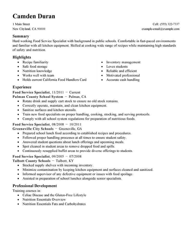 ceo resume template for microsoft word livecareer free food specialist education standard Resume Ceo Resume Template Word Free