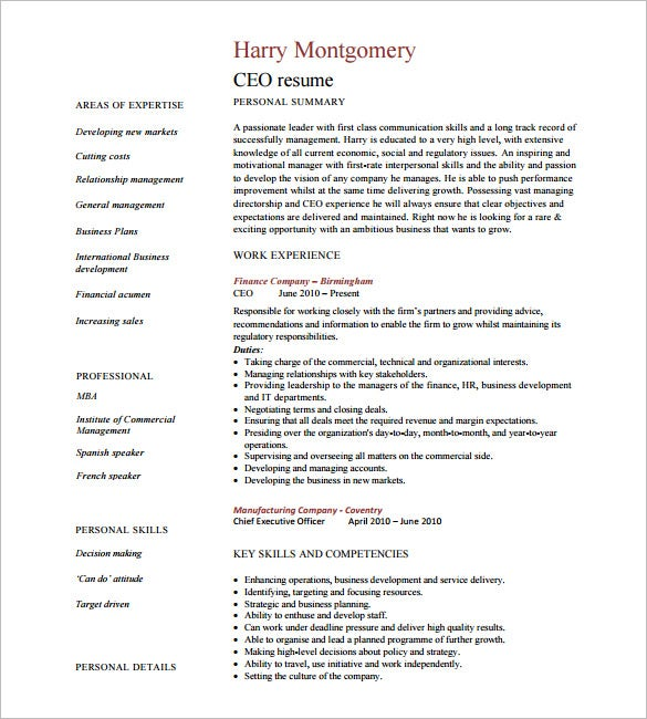 ceo resume template free samples examples format premium templates mechanical engineering Resume Free Ceo Resume Templates