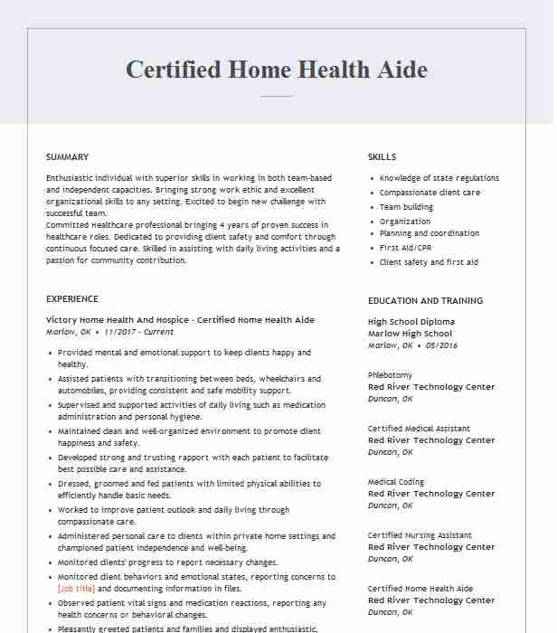 certified home health aide resume example resumes livecareer apa style cover letter for Resume Home Health Aide Resume