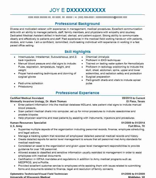certified medical assistant resume example livecareer examples for students format lab Resume Resume Examples For Medical Assistant Students