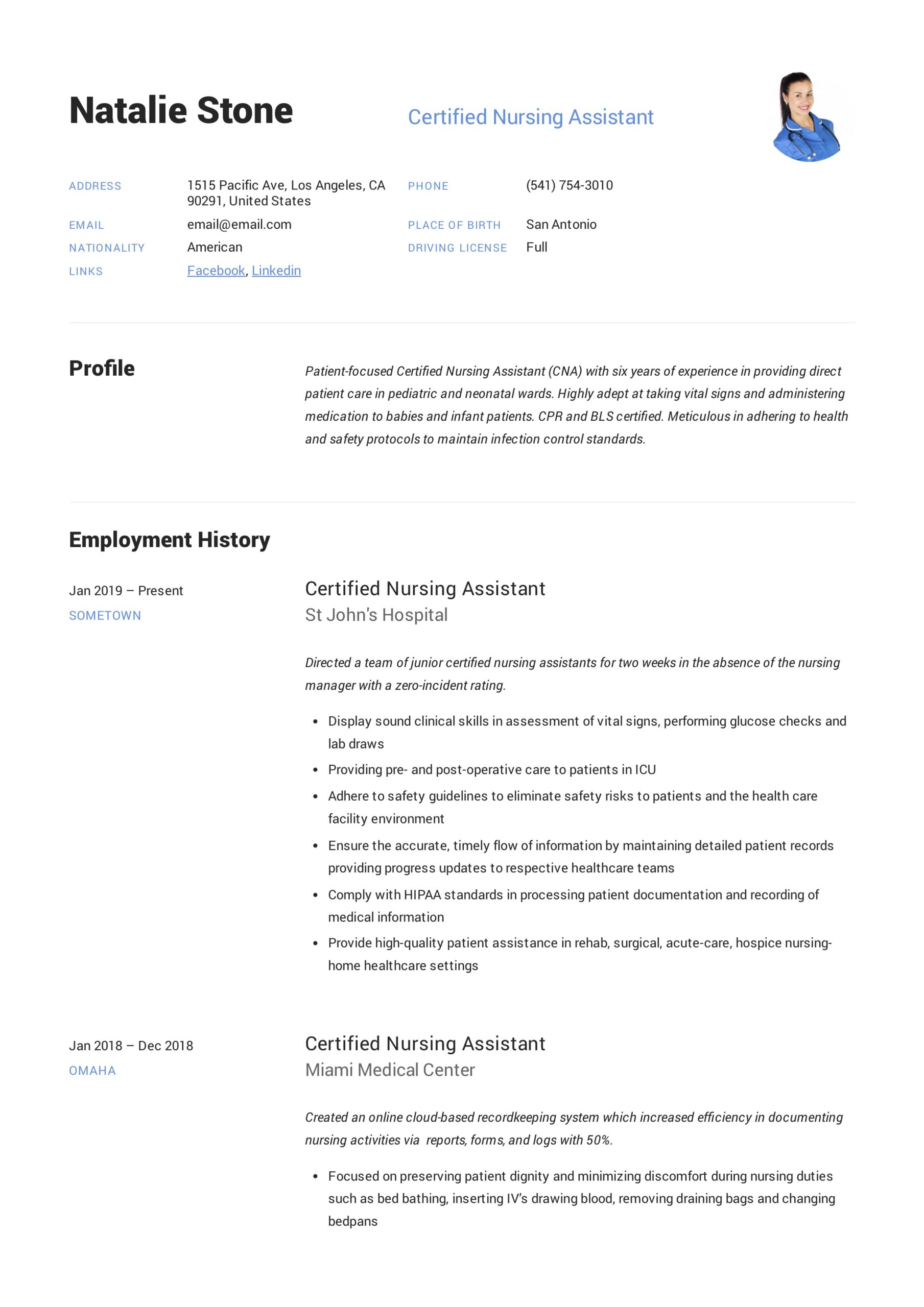 certified nursing assistant resume writing guide templates listing dates on truck driver Resume Nursing Assistant Resume