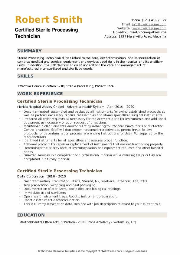certified sterile processing technician resume samples qwikresume example pdf transfer Resume Sterile Processing Technician Resume Example