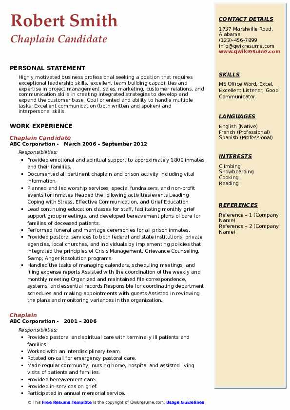 chaplain resume samples qwikresume for pastoral candidate pdf home depot the perfect Resume Resume For Pastoral Candidate
