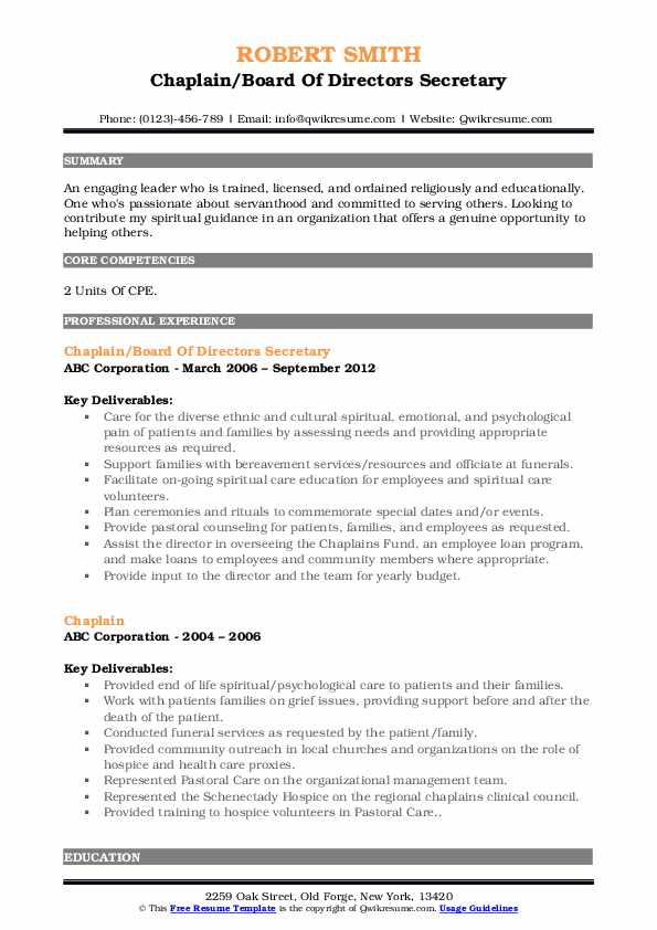 chaplain resume samples qwikresume for pastoral candidate pdf objective offshore Resume Resume For Pastoral Candidate