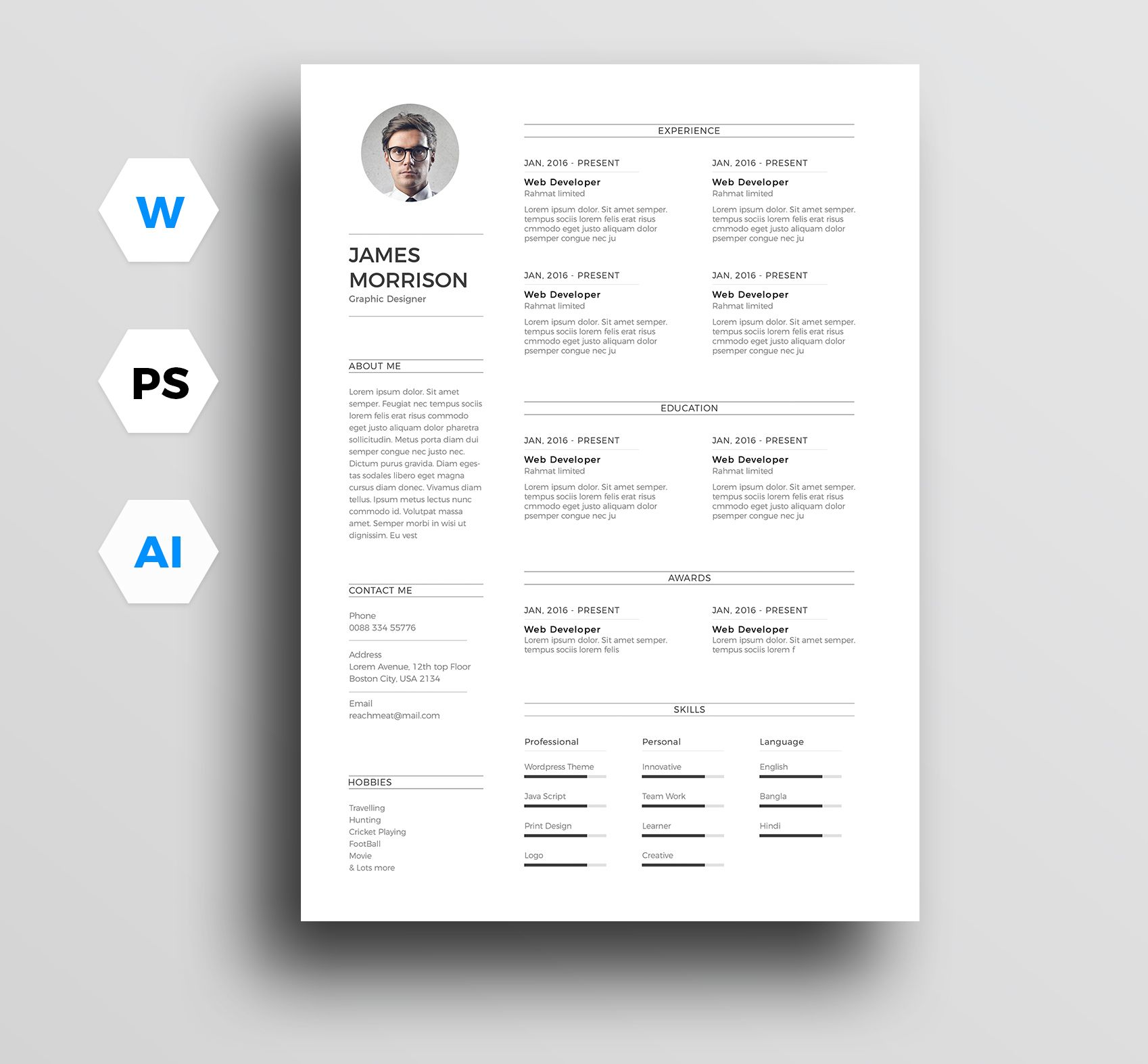 check out my behance project free minimal resume template cv in word and https best Resume Free Minimalist Resume Template Word