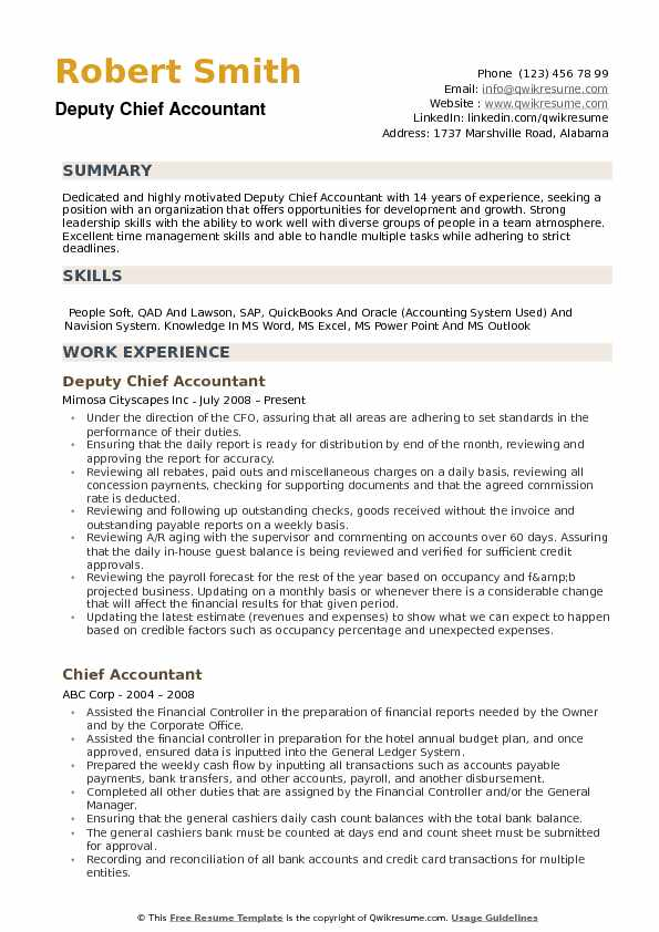 chief accountant resume samples qwikresume accounting skills summary pdf format data Resume Accounting Resume Skills Summary