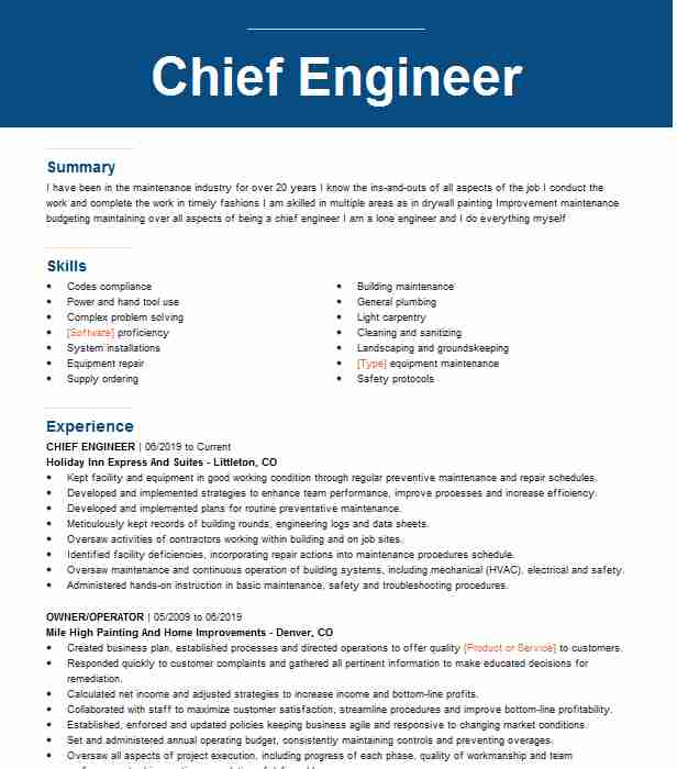 chief engineer resume example engineering resumes livecareer marine sample food pantry Resume Marine Chief Engineer Resume Sample