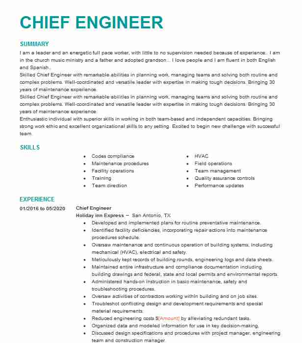 chief engineer resume example engineering resumes livecareer marine sample whats cover Resume Marine Chief Engineer Resume Sample