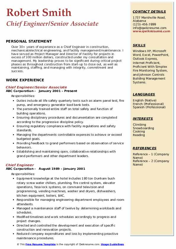 chief engineer resume samples qwikresume marine sample pdf medical assistant summary of Resume Marine Chief Engineer Resume Sample