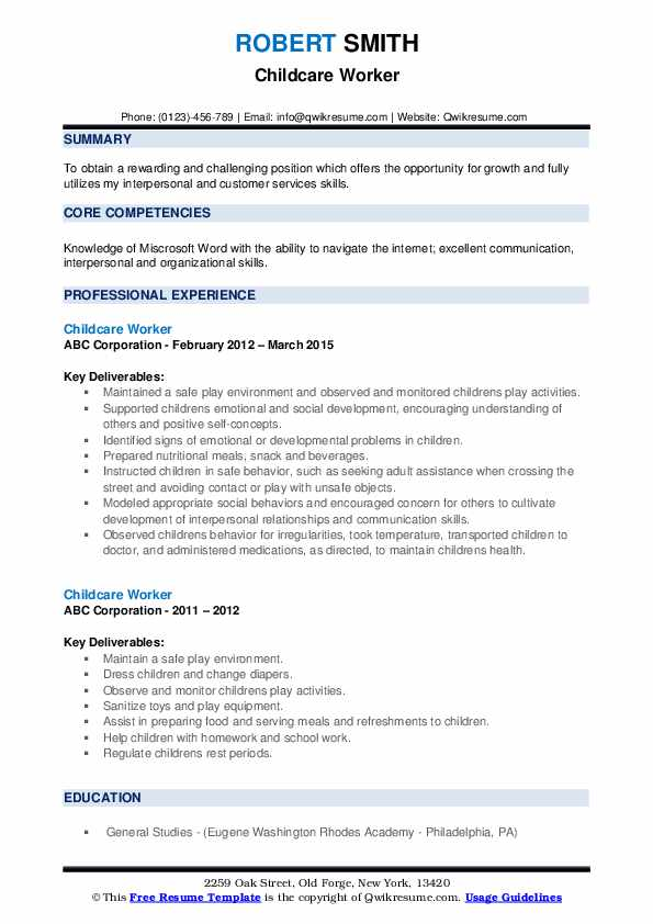 childcare worker resume samples qwikresume child care skills pdf entry level accounting Resume Child Care Resume Skills
