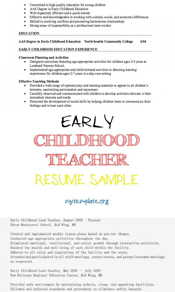 childhood teacher resume sample free templates examples of pin mba finance fresher word Resume Early Childhood Teacher Resume Examples