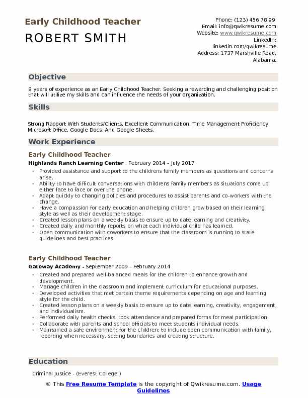 childhood teacher resume samples qwikresume examples pdf accounting template mba finance Resume Early Childhood Teacher Resume Examples