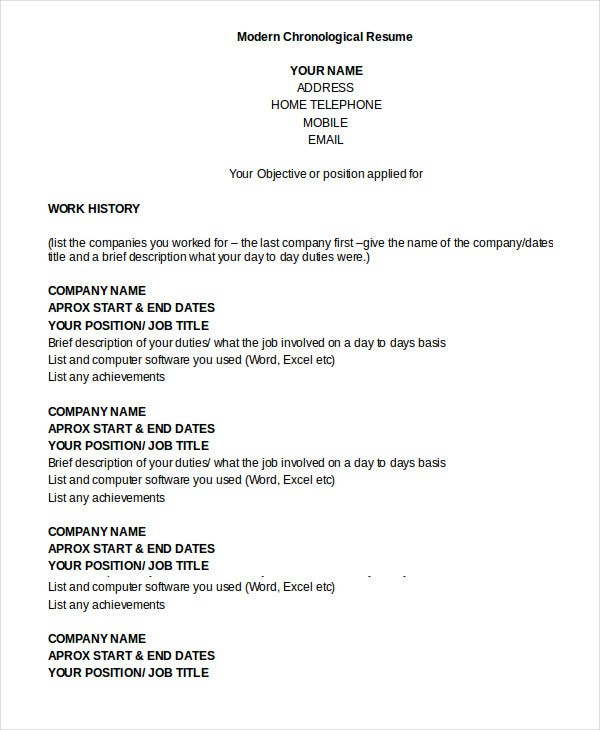 chronological resume template free word pdf documents premium templates sample modern in Resume Chronological Resume Sample