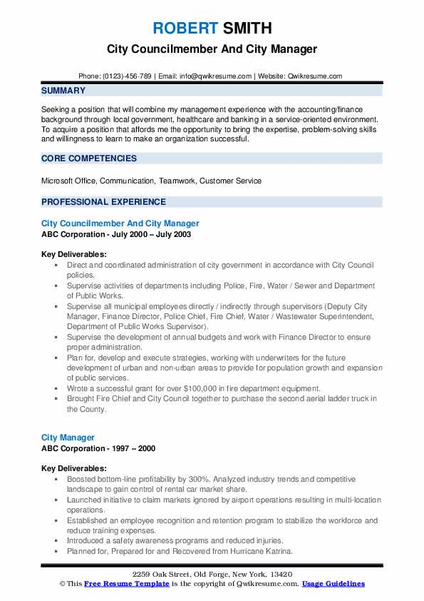 city manager resume samples qwikresume examples pdf law office receptionist sample sports Resume City Manager Resume Examples