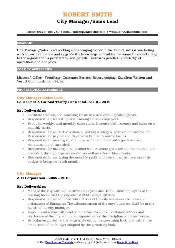 city manager resume samples qwikresume examples pdf professional theatre internal audit Resume City Manager Resume Examples